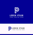 capital letter p template for emblem logos vector image vector image