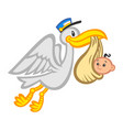cartoon flying stork bird delivering a baby vector image vector image