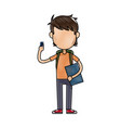cartoon young boy student avatar vector image