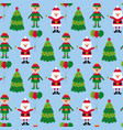 christmas seamless pattern with santa and elf vector image