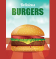 delicious burger with tomatoes lettuce cheese vector image vector image