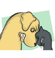 Dog and Cat Nose to Nose vector image vector image