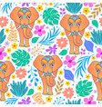 elephants and tropical flowers vector image vector image