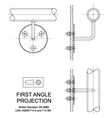 First Angle Orthographic Projection vector image
