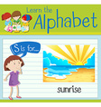 Flashcard letter S is for sunrise vector image vector image