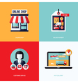Flat design with e-commerce online shopping icons vector image
