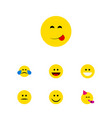 flat icon expression set of joy laugh party time vector image vector image