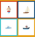 flat icon vessel set of boat delivery yacht and vector image vector image