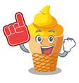 foam finger banana ice cream in cone character