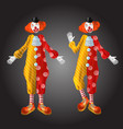 funny clown character in colorful costume set vector image vector image