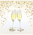 glasses with champagne and golden confetti vector image vector image