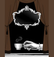 hand with a cup coffee curtain and frame vector image vector image