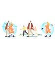 happy family characters walking at spring father vector image