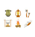 hiking camping icons set touristic equipment and vector image