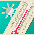 hot summer day thermometer with sun flat design vector image vector image