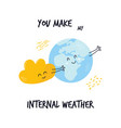 hugging cloud and earth planet sweet vector image vector image