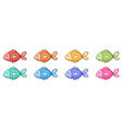 isolated set cute fish vector image vector image
