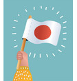 japan national flag hand icon vector image vector image