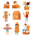 kids in box creative children character vector image vector image