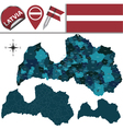 Latvia map with named divisions vector image vector image