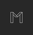 Monogram letter M logo minimal line graphic style vector image vector image