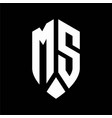 ms logo monogram with emblem shield style design vector image vector image