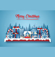 origami paper art postcard christmas party in vector image