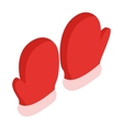 Pair of red mittens icon isometric 3d style vector image vector image