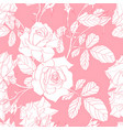 pattern with hand drawn line roses flowers vector image vector image