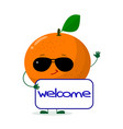 pretty orange character in sunglasses keeps the vector image vector image