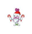 purple potion cartoon character in santa costume vector image vector image