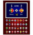 scoreboard of football match and circle design vector image