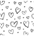 Seamless hand drawn heart pattern vector image vector image