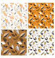 seamless pattern with acorns and autumn leaves vector image