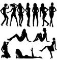 Set of sexy women silhouettes vector image vector image