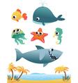 set sea animals vector image vector image