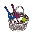 The bottles in a basket vector image vector image
