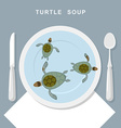Turtle soup Sea turtles swim in plate Exotic vector image vector image