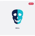 two color skull icon from history concept vector image vector image