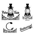 vintage set retro train restaurant vector image