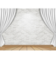 white curtains and brick wall background vector image