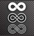 white infinity shape unlimited symbol endless set vector image