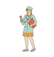 woman doctor in medical gown and cap with a vector image vector image