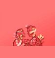 woman man couple with papercut nature plant vector image vector image