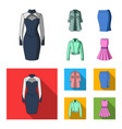 women clothing cartoonflat icons in set vector image