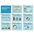 Colorful graphs and presentation graphics on blue vector image