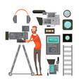 film cameraman with video equipment vector image
