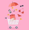 add women clothing and accessories into cart vector image vector image