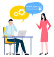 business workers communicating business thoughts vector image vector image