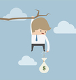 Businessman cut the rope of money sack to survive vector image vector image